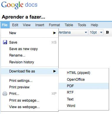 Google Docs - Gravar como PDF